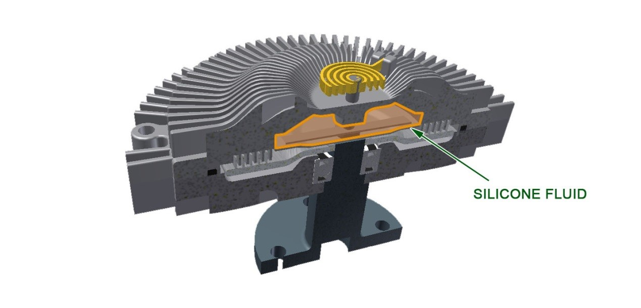 at this stage, the viscous fan coupling is disengaged and turns at around  20% of the rotation speed of the engine